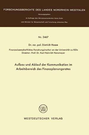 Aufbau Und Ablauf Der Kommunikation Im Arbeitsbereich Des Finanzplanungsrates af Dietrich Hosse