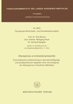 Altersgrenze Und Arbeitsmarktpolitik af Otto Blume