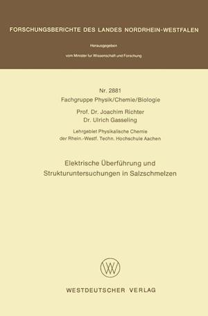 Elektrische Uberfuhrung Und Strukturuntersuchungen in Salzschmelzen af Joachim Richter