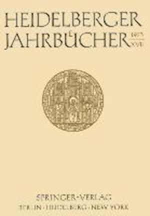 Heidelberger Jahrbucher XVII af Gunter Menges, Hans Walter Wolff, Jacob Marschak
