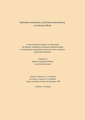 Hydrothermalsynthese Und Strukturuntersuchung Von Montmorillonit af Rolf Schwiete