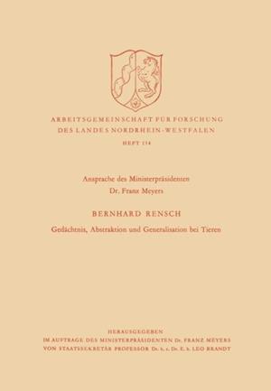 Gedachtnis, Abstraktion und Generalisation bei Tieren af Bernhard Rensch