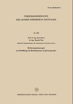 Stromungsmessungen zur Ermittlung von Brennkammer-Ausbrenngraden af Karl Leist