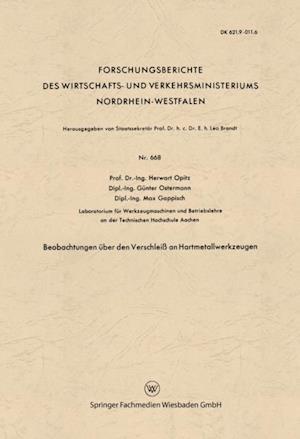 Beobachtungen uber den Verschlei an Hartmetallwerkzeugen af Herwart Opitz