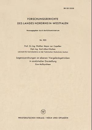 Lagenzuordnungen an ebenen Viergelenkgetrieben in analytischer Darstellung af Walther Meyer Zur Capellen