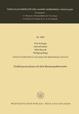 Festkorperanalysen Mit Dem Massenspektrometer af Fritz Aulinger