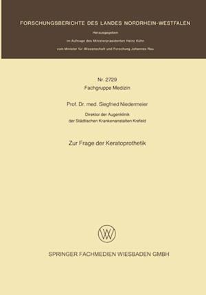 Zur Frage der Keratoprothetik af Siegfried Niedermeier
