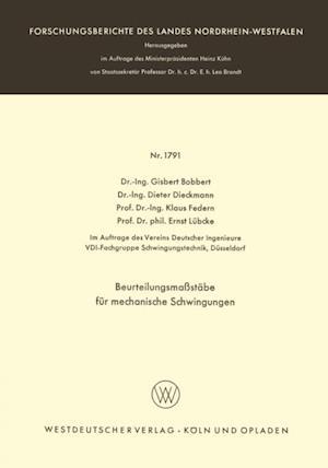 Beurteilungsmastabe fur mechanische Schwingungen af Klaus Federn, Ernst Lubcke, Dieter Dieckmann