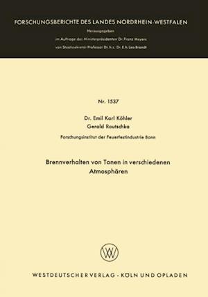 Brennverhalten von Tonen in verschiedenen Atmospharen af Emil Karl Kohler