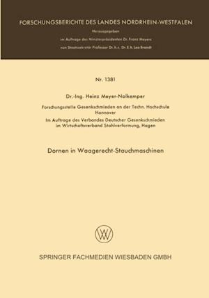 Dornen in Waagerecht-Stauchmaschinen af Heinz Meyer-Nolkemper