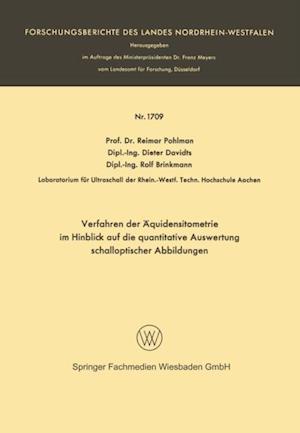 Verfahren der Aquidensitometrie im Hinblick auf die quantitative Auswertung schalloptischer Abbildungen af Reimar Pohlman
