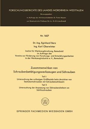 Zusammenwirken von Schraubenbetatigungswerkzeugen und Schrauben af Eginhard Barz