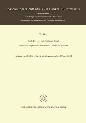 Schwermetallresistenz und Mineralstoffhaushalt af Wilfried Ernst