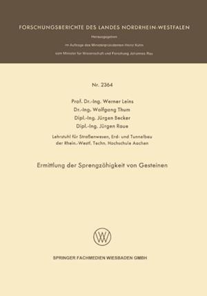 Ermittlung der Sprengzahigkeit von Gesteinen af Jurgen Becker, Werner Leins, Wolfgang Thum