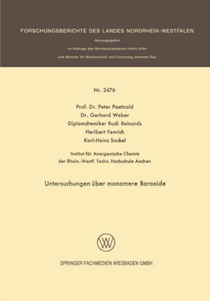 Untersuchungen uber monomere Boroxide af Peter Paetzold, Gerhard Weber, Heribert Fenrich