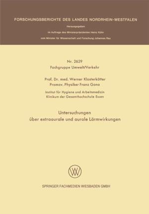 Untersuchungen uber extraaurale und aurale Larmwirkungen af Werner Klosterkotter