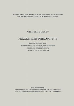 Fragen Der Philosophie af Wilhelm Goerdt