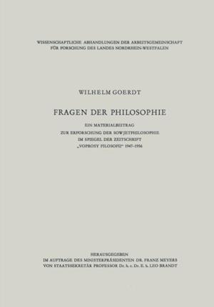 Fragen der Philosophie' af Wilhelm Goerdt