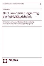 Der Harmonisierungserfolg Der Publizitatsrichtlinie (Studien Zum Gesellschaftsrecht, nr. 9)